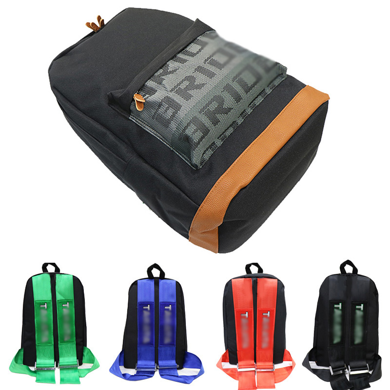 Car Canvas Backpack Bride Bag Fabric Straps Style School Backpack Racing Straps Backpack Wallet Key Case For JDM Style Racing
