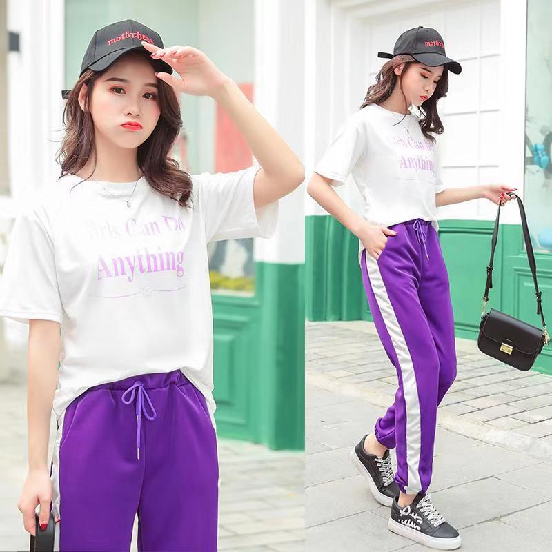 2019 Summer Short Sleeve T-shirt Student Korean-style Best Friend-Two-Piece Set Harem Pants Casual Sports WOMEN'S Suit Fashion