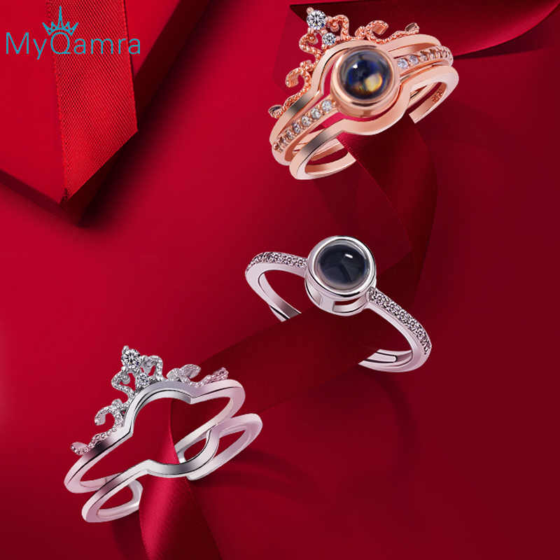 MYQAMRA 925 silver rings for women jewelry Vintage Crown Lovers for men   Engagement Valentine's Day Gift wave ring