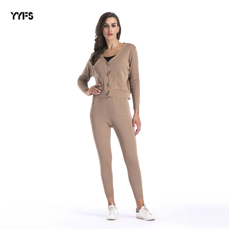 WOMEN'S Two-piece Suit  New Style Autumn And Winter Solid Color Foreign Trade Fashion Casual Knitted Cardigan Trouser