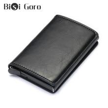 BISI GORO Anti-thief Men Credit Card Holder Blocking Rfid Minimalist Wallet Bag Metal Leather Business ID Case Cardholder
