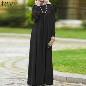 ZANZEA Women Autumn Dress Casual Long Sleeve Solid Maxi Long Vestido Kaftan Abaya Dubai Hijab Muslim Dress Loose Sundress S-5XL pearl beading bell sleeve hijab long dress