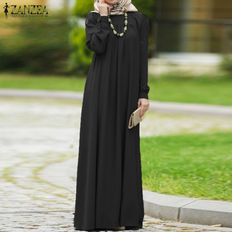 ZANZEA Women Autumn Dress Casual Long Sleeve Solid Maxi Long Vestido Kaftan Abaya Dubai Hijab Muslim Dress Loose Sundress S-5XL