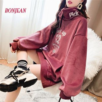 Velvet Jumper Hooded Sweater Women Letter Print Plus Size Warm 2020 Womens Tops Long Coat Lady Autumn Pullovers Mujer