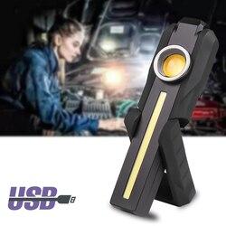 Lampe de poche LED de travail intégré batterie Rechargeable lampe COB 4 Modes torche queue aimant pour Camping 10W ampoules lumière Litwod noir