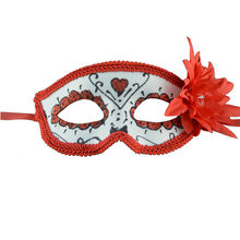 Venetian Masquerade Mask Women's Sexy Red Glitter Fancy Eye Mask With Flowers masque cosplay carnaval helloween mask funny mask(China)