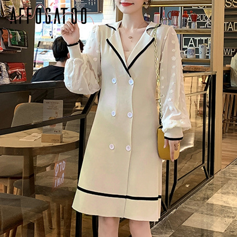 Affogatoo Elegant v neck office ladies knitted dress women Casual vintage Autumn double breasted puff sleeve female short dress