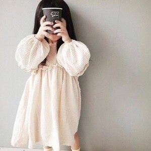 Nowy 2020 lato japonia dzieci dziewczyna sukienka dziewczynek letnie sukienki lniane ubrania wiosenne Ruffles księżniczka maluch ubranie dla dziewczynki