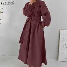 ZANZEA Herbst Langarm Solide Maxi Sommerkleid Mode Frauen Lange Hemd Kleid Elegante Damen Mit Gürtel Party Vestido Robe Femme