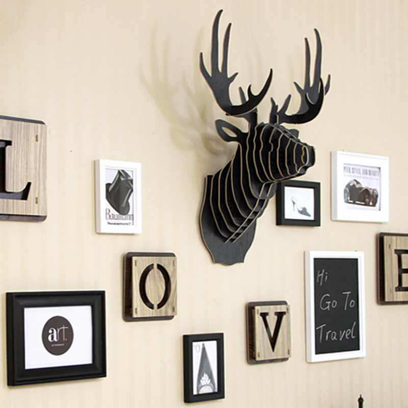 Nieuwe 3D Houten Animal Deer Head Art Model Home Office Muur Opknoping Decoratie Opslag Houders Rekken Gift Ambachtelijke Home Decor