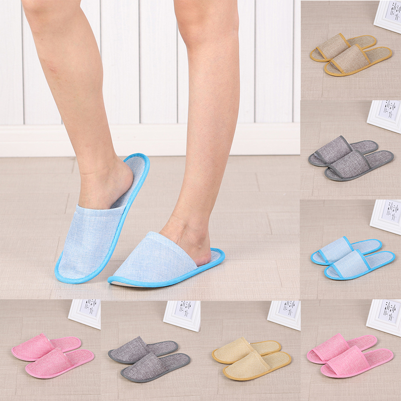 2019 New Linen Home Slipper Women Men Hotel Travel Spa Foldable House Disposable Slippers Home Guest Indoor Slippers Length 29cm