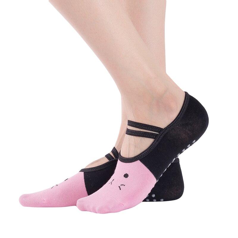 Bandage Yoga Socks For Women Anti-Slip Floor Socks Quick-Dry Backless Pilates Ballet Socks Cat Print Sportswear Accessories