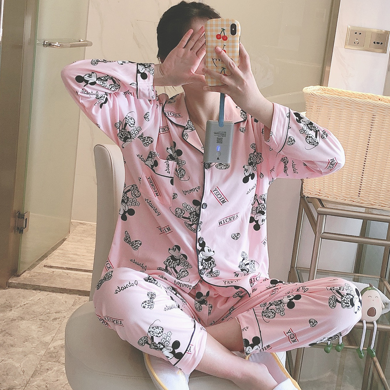 Spring Summer New Pajama Sets For Women Cartoon Mouse Print Female Pyjamas Comfortable Casual 2 Pcs Girl's Night Sleepwear