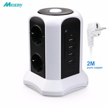 Tower Power Strip Vertical Surge Protection 6 way EU Outlets Plug Socket with USB Switch Overload Protector 2m Extension Cord