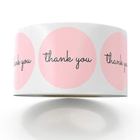 500pcs/roll Pink Color Thank You Stickers Seal Labels Scrapbooking Christmas Sticke Decoration Sticker Stationery Sticker