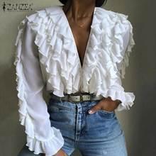 Zanzea blusa elegante de manga longa, blusa da moda com gola em v, manga longa, feminina, com babados, para primavera, casual, de trabalho 5xl