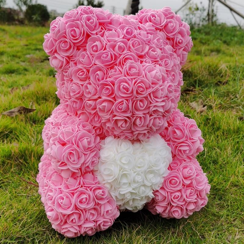 40 см Мишка Тедди Роза с сердцем Красный цветок искусственные украшения Подарки для женщин День святого Валентина