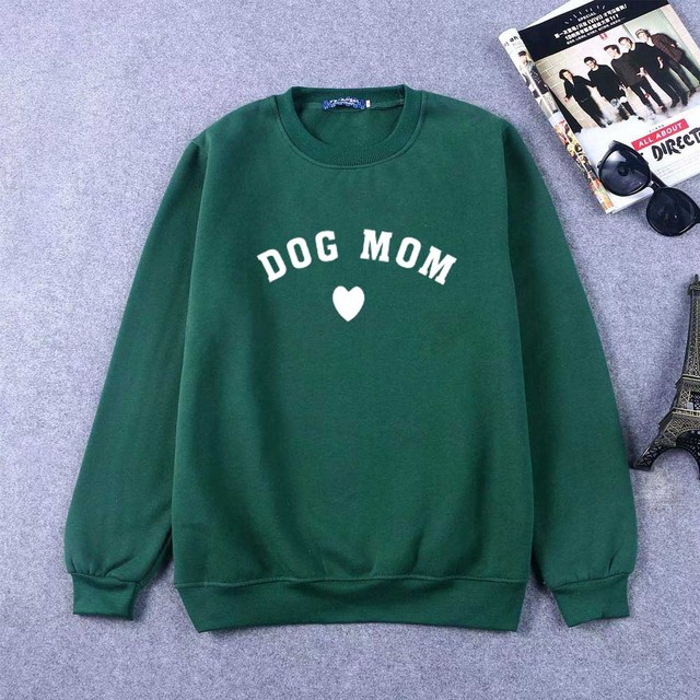 Plus Velvet Crew Neck Dog Mom Cat Mom Kawaii Letter Prints Long Sleeve Hoodies Women Sweatshirt Tops Fashion Pullover Outfits