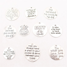 10pcs Popular Inspirational Quotes Metal Tag Pendant DIY Charm Fashion Necklace Bracelet Jewelry Handicraft Accessories P72