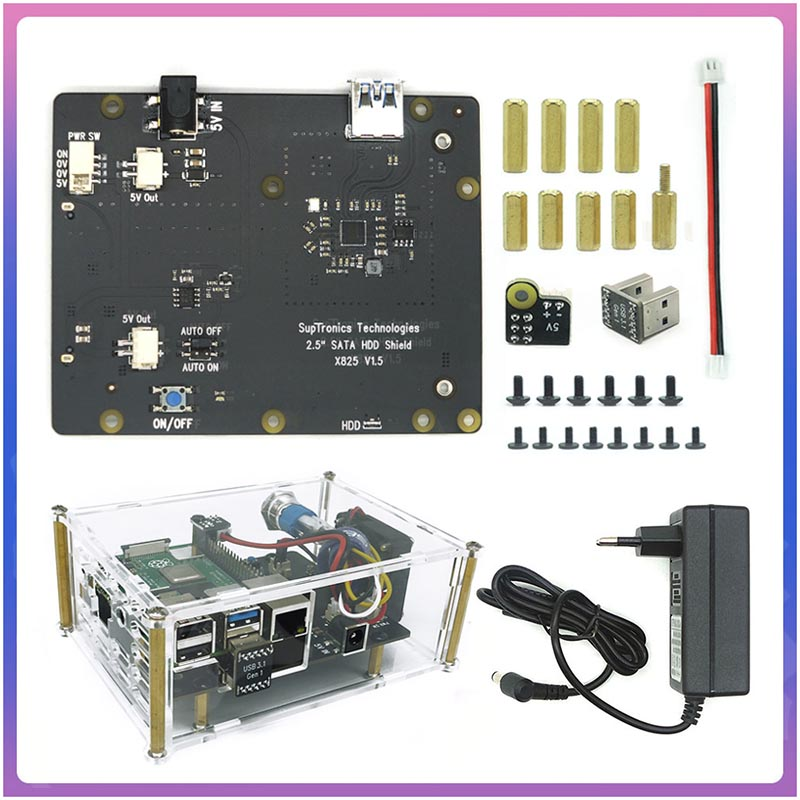 Raspberry X825 2,5 дюйма SATA HDD/SSD Плата расширения акриловый чехол для Raspberry Pi 4B ( 4 Модель B)