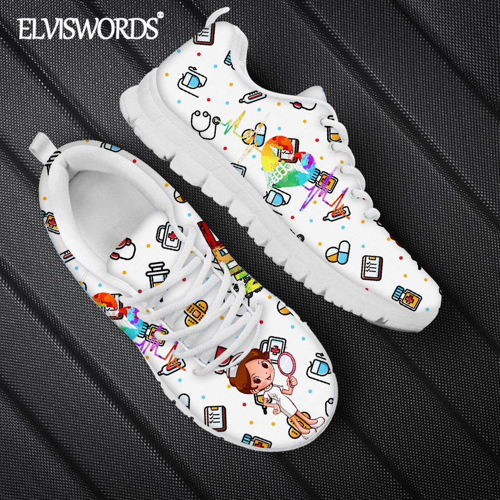 ELVISWORDS Kawaii Nurse Print Women's Casual Flat Shoes Health Paramedic Design Sport Sneaker 2021 Breathable Tennis Shoes mujer Women's Flats  - AliExpress