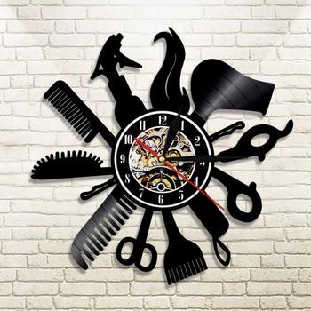 Barber Shop Vinyl Record Wall Clock Modern Design Beauty Salon Store Vintage 3D Timepiece Haircut horloge Hairdresser Gift 1