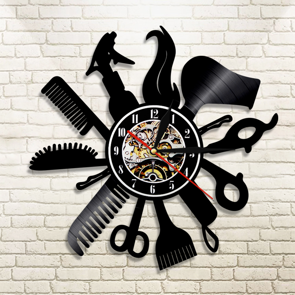Barber Shop Vinyl Record Wall Clock Modern Design Beauty Salon Store Vintage 3D Timepiece Haircut Horloge Hairdresser Gift
