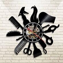 Reloj de pared de vinilo para grabación de barbería, diseño moderno, tienda de salón de belleza, Vintage, reloj 3D, corte de pelo, regalo de peluquería