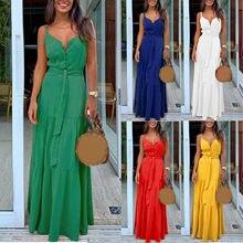 Robe d'été pour femmes, Style Boho, sans manches, à bretelles, col en v, à bandes, Robe de plage, pour Les fêtes