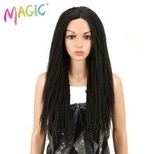 Magic Tóc 26 Inch Tổng Hợp Phối Ren Phía Trước Bộ Tóc Giả Cho Nữ Màu Đen Móc Dây Bện Xoắn Jumbo Oai Giả Locs Kiểu Tóc Dài tóc