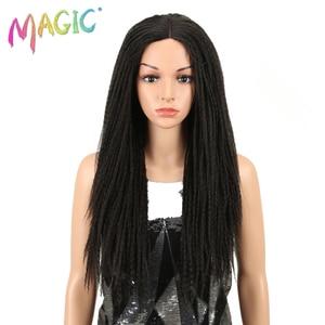 Image 1 - Magic Tóc 26 Inch Tổng Hợp Phối Ren Phía Trước Bộ Tóc Giả Cho Nữ Màu Đen Móc Dây Bện Xoắn Jumbo Oai Giả Locs Kiểu Tóc Dài tóc