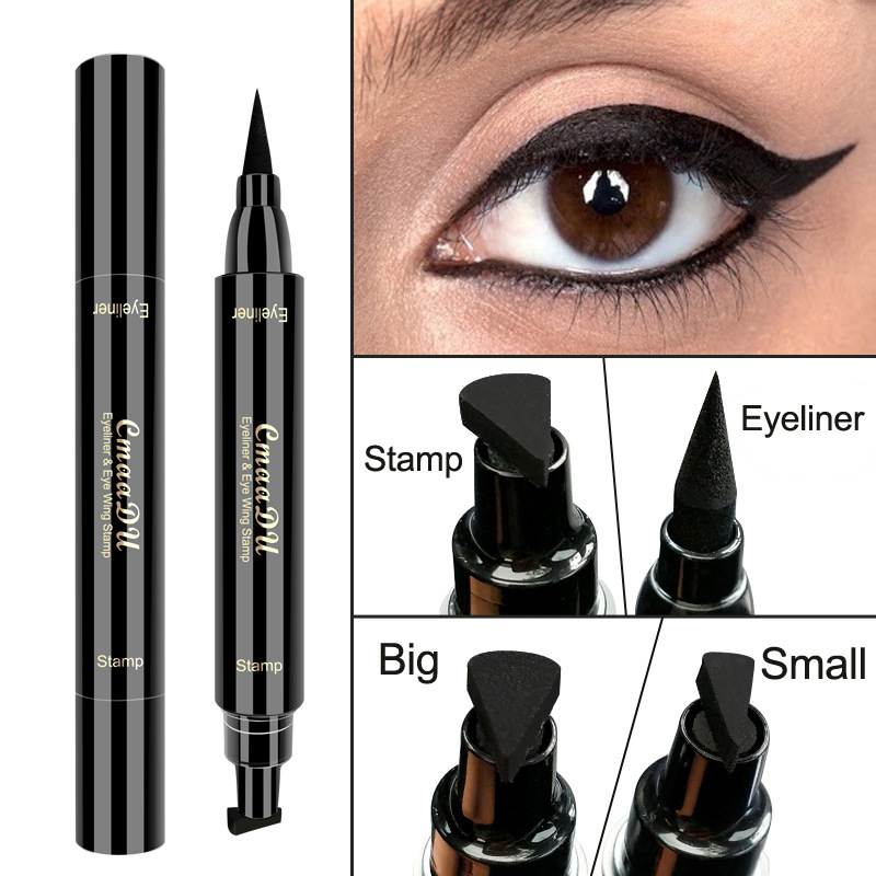 1 Double Head Seal Black Eyeliner Triangle Seal Eyeliner 2 In 1 Waterproof Lasting Makeup Set TSLM2
