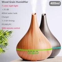 400ml USB Elektrische Aroma air diffusor holzmaserung Ultraschall xiomi luftbefeuchter kühlen nebel maker mit 7 farben lichter für home