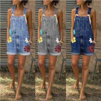 Printed loose thin washed denim shorts overalls summer causal denim overalls European and American hot selling denim overalls raw hem denim overalls