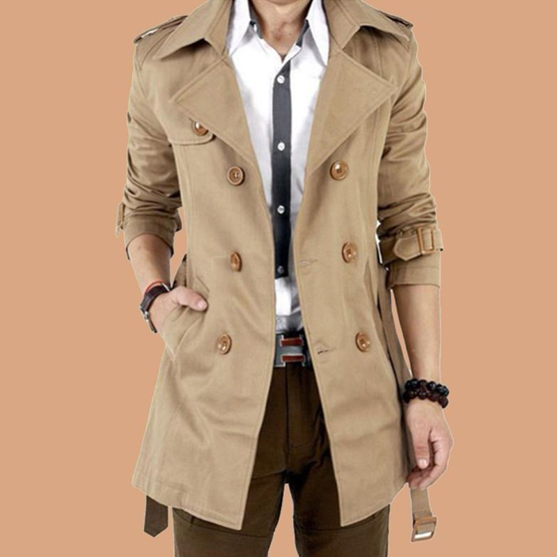 2019 Fashion Men's Thick Coat Autumn Warm Solid Color Long   Trench   Jacket Male Double Breasted Business Casual Overcoat Parka