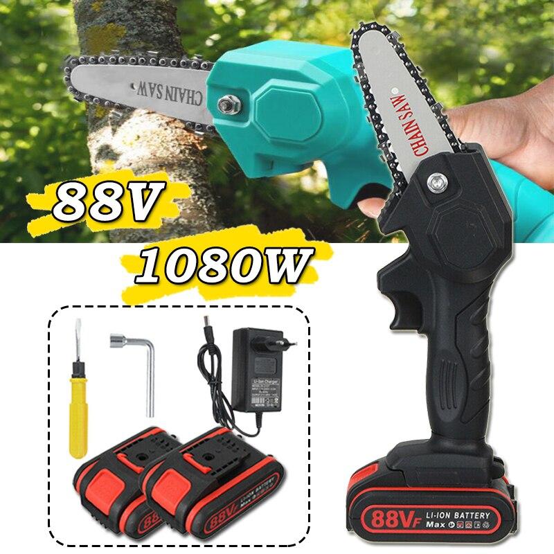 Электрическая мини-бензопила, деревообработка, обрезка дерева, цепная пила для одной руки с 2 батареями, электроинструмент для сада и дерево...