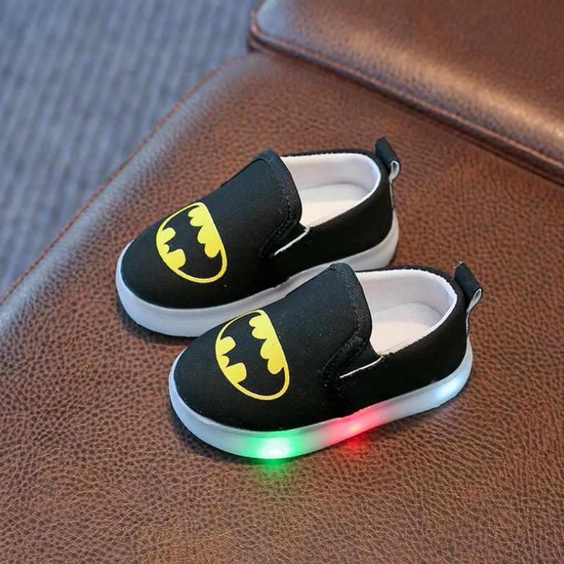 Children Luminous Shoes Superman Spiderman Batman Shoes Fashion For Girls Boys Kids Toddler Soft Sneakers Slip-On Loafers Flats