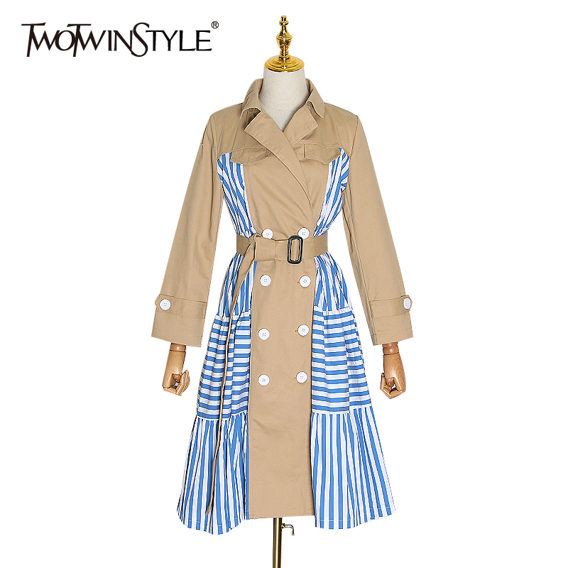TWOTWINSTYLE Stripe Plaid Hit Color Windbreaker For Women Notched Long Sleeve High Waist Sashes Female 2020 Spring Fashion New