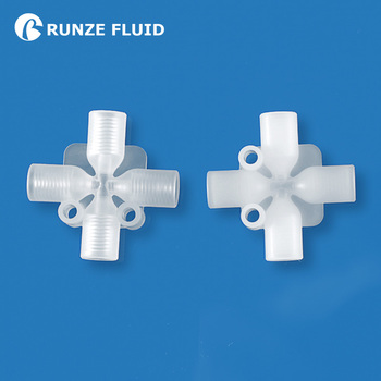 Teflon Tubing Plastic Connector Cross Joint Food Grade PP PTFE Material Accurate Standard 1/4-28UNF Female Thread Easy Mounting