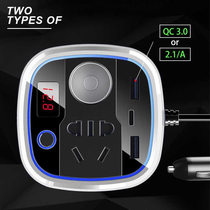 150W Dc 12V Naar Ac 220V Auto Converter Omvormer Spanning Display Auto Power Inversor Met Usb charger QC3.0 Type-C 12V Socket