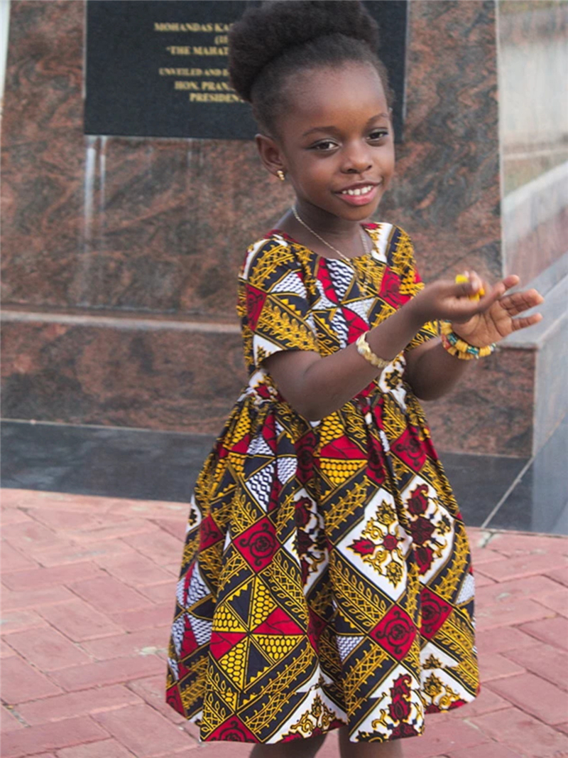2020 NEW Summer African Clothes For Kids Girls Short Sleeve Dress Floral Vestidos Dashik Gift Party Vacation