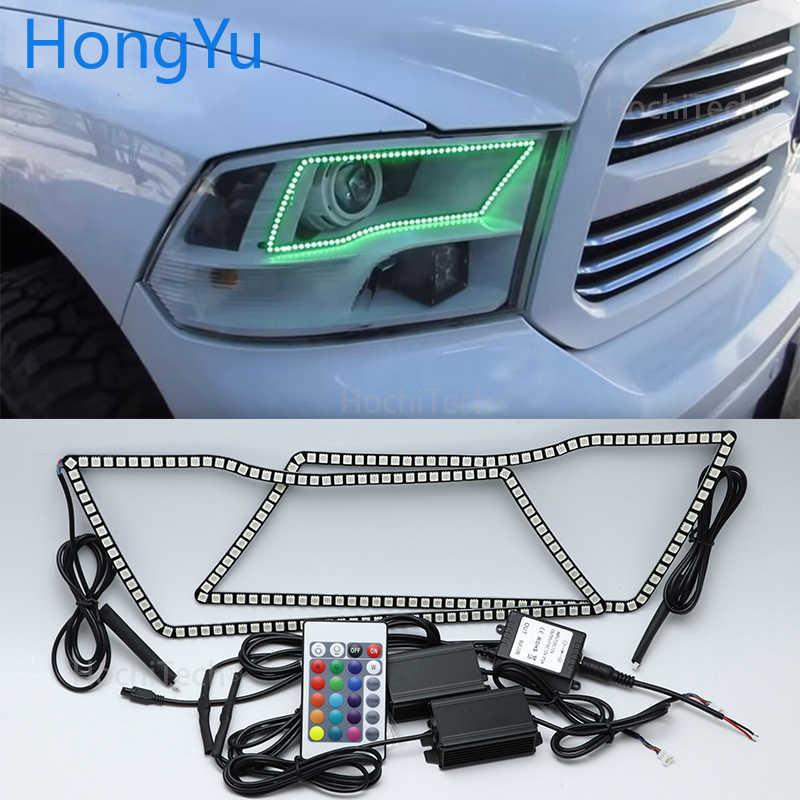 Untuk Dodge Ram 1500 2500 3500 4500 5500 2009-2016 Mobil RGB Multi-Warna LED Malaikat Mata Halo cincin Lampu Kit Remote Kontrol Nirkabel