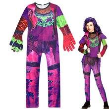 Descendentes 3 mal macacões roxo meninas roupas de manga longa macacão cosplay desempenho traje com luvas meninas conjunto cosplay