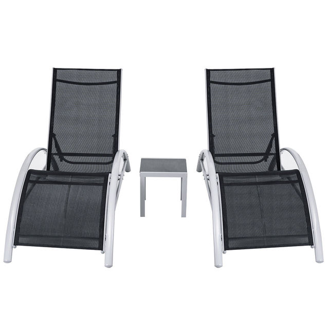 3 pcs outdoor patio pool lounger s