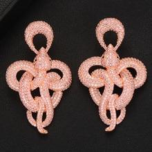 SISCATHY Unique Design Twist statement Snake Earring African Indian Dubai Russia Full CZ Noble Luxury Earrings for Women Jewelry
