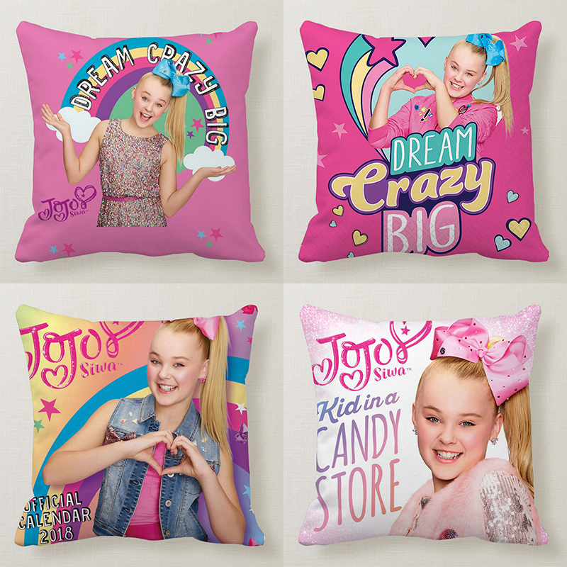 The Little Cute Girl JOJO SIWA Happy Pink Girl Printed Pillow Sofa Car Bed Sofa Pillow Case Bedroom Decoration Cushion Cover