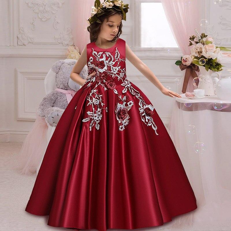 Новое кружевное свадебное платье цветок галстук-бабочка для девочки теннис вечерние банкет вечерние шоу Бальное Платье vestidos de fiesta - Цвет: wine red