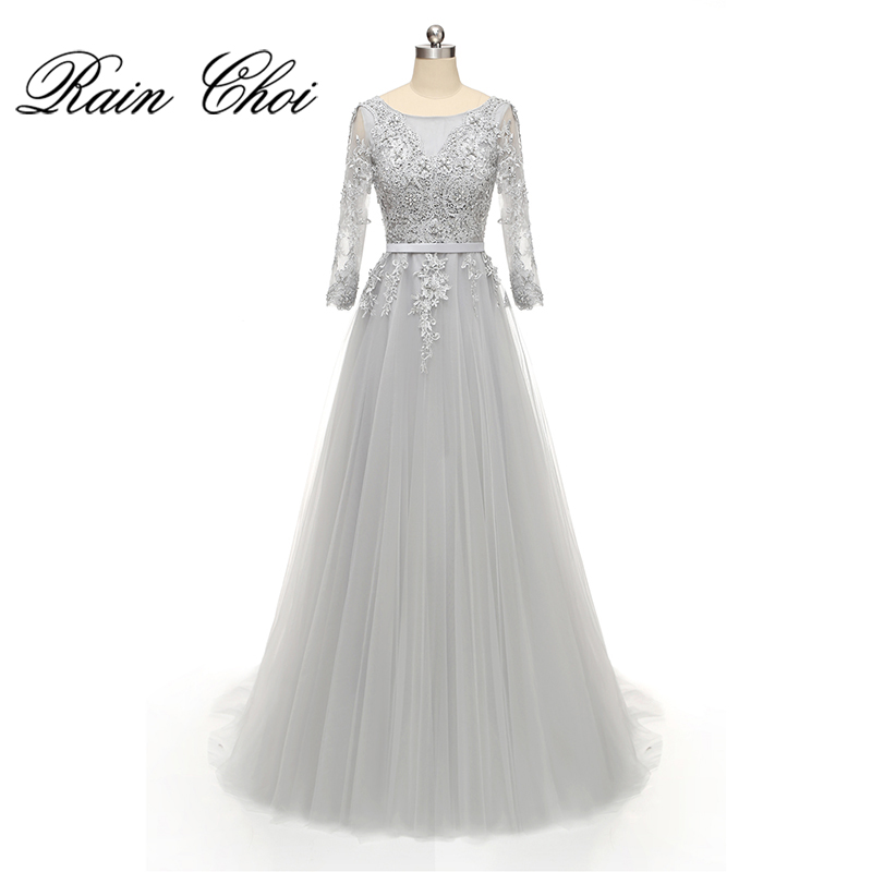3/4 Sleeves Appliques A line Formal Prom Gown Women Long Evening Dresses 2019