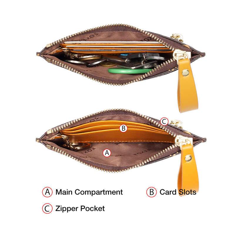 Foxer Pvc Lederen Mini Kaarthouder Vrouwen Mini Munt Pakket Dames Sleutel Portemonnee Kleine Bus Id Card Bag Retro licht Clutch Purse