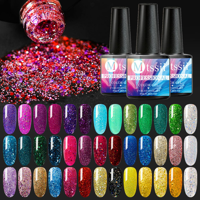 Mtssii For Sale 8ML Nail Polish Holographic Glitter Platinum UV Nail Gel Polish Shine Shimmer Manicure Soak Off Nail Art Varnish